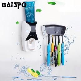 BAISPO dispensador automático de dentífrico soporte de cepillo de dientes productos de baño estante de montaje en pared juego de
