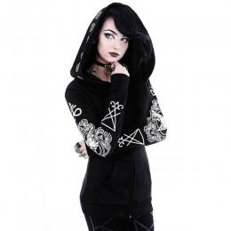 Sudadera con capucha negra roseta para mujer abrigo talla grande Punk gótico estampado con capucha Hipster Streetwear tallas gra