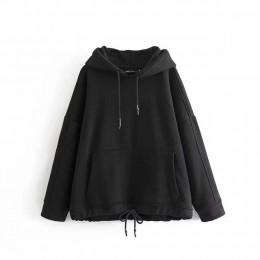 YOCALOR mujeres Harajuku algodón sudaderas con capucha sólidos Patchwork bolsillos Regular Oversize Sudadera talla grande sudade