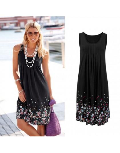 Vestido de verano de playa suelto sin mangas con estampado Floral a la moda de seis colores vestido Casual para mujer 2019 vesti