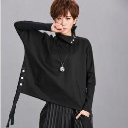 [EAM] suelta ajuste negro cinta Split sudadera nuevo cuello alto manga larga mujeres talla grande moda marea otoño invierno de 2