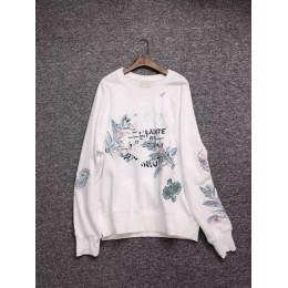 Nuevo otoño invierno blanco sudadera manga larga flor letra bordado Jersey Top