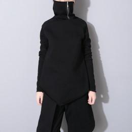 [EAM] 2019 nuevo jersey de primavera cuello de tortuga manga completa asimétrica suelta Sudadera Mujer moda marea OB196