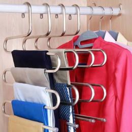 5 capas S forma multifuncional perchas de ropa pantalones perchas de almacenamiento estante de tela multicapa percha de tela de