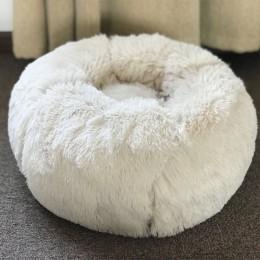 Cama redonda para perros lavable Perrera de felpa larga Casa de gatos sofá súper suave tapetes de algodón para perro Chihuahua m