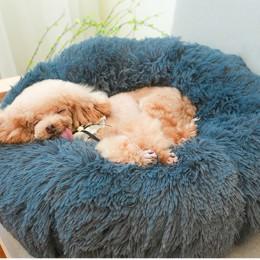 Super suave mascota cama perrera perro redondo gato invierno cálido saco de dormir largo felpa cachorro cojín Mat portátil gato
