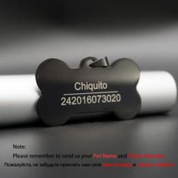 Etiqueta de perro personalizada de acero inoxidable nombre grabado etiquetas de identificación para Collar de perro Anti-Pérdida