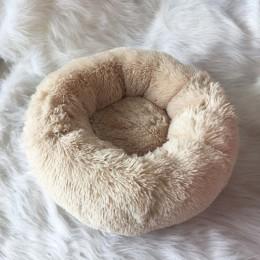 Cama de perro de felpa suave de lujo con forma redonda saco de dormir perrera gato sofá cama para mascotas casa de invierno cama