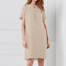 Vestido de lino de verano 2019 Celmia mujeres túnica Top camisa de manga corta botón Mujer Vintage Casual Vestidos Sarafans S-5X