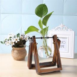 Vidrio y madera jarrón maceta terrario mesa escritorio hidropónica planta bonsái maceta colgante macetas con bandeja de madera d