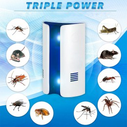Repelente electrónico ultrasónico multifunción tipo pan repele ratones insectos de cama mosquitos arañas repelente de insectos m