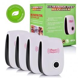4 2 Uds., Control de plagas, repelente ultrasónico de plagas, repelente electrónico de ratones, cucarachas de roedores, EE. UU./