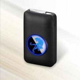 Nuevo encendedor de carga USB y caja de cigarrillos creativo pantalla LED gráfica carga USB a prueba de viento encendedor electr