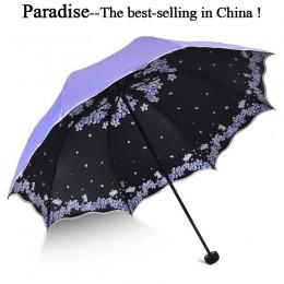 Sombrilla plegable de calidad para mujer, sombrilla de bolsillo para mujer, marca de viaje, antiuv, a prueba de viento, flor de