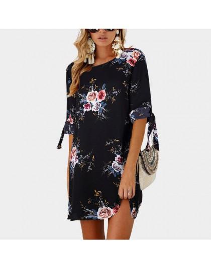 2019 vestido de verano para mujer, estilo bohemio, estampado Floral, Vestido de playa, Túnica, vestido de verano, Mini vestido d
