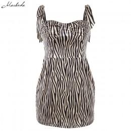 Macheda mujer moda Slim Zebra Print vestido sin mangas ajustable Spaghetti Strap Bodycon Casual Vestidos 2019 nuevo