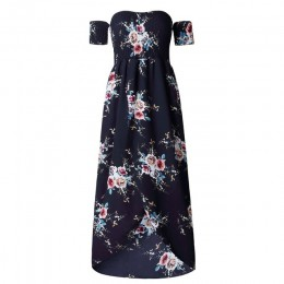 Vestidos largos sin tirantes de verano de playa para mujer con estampado Floral y hombros descubiertos Vestidos de mujer XS-5XL