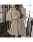 Affogatoo Vintage elagant mujeres mini vestido de camisa Casual linterna manga Vestido corto cuello vuelto encaje hasta vestidos