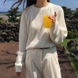 Suéter de punto de manga larga de mujer de moda coreana jersey de cuello redondo sólido y Jersey suelto de Venta caliente S80209