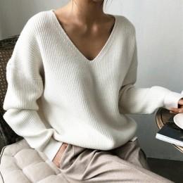 Colorfaity nuevo 2019 Otoño Invierno suéteres de las mujeres cuello en V minimalista tapas de moda estilo coreano tejido Casual