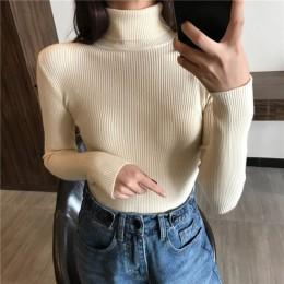 2019 Otoño Invierno grueso suéter de punto acanalado pulóver suéter de manga larga cuello alto delgado Jumper suave caliente de