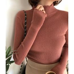 Suéter de mujer con cuello de tortuga fruncido alto elástico sólido 2019 Otoño Invierno moda suéter mujer ajustado Sexy punto pu