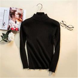 2019 Otoño Invierno mujeres pulóveres suéter tejido elasticidad Casual Jumper moda Delgado cuello alto caliente mujer suéteres