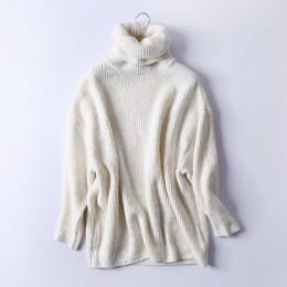Rejina Pyo Mujeres de Gran Tamaño de Cuello Alto de Punto Básico Femenino Suéter de Cuello Alto Sólido Suéteres de Cuello Calien