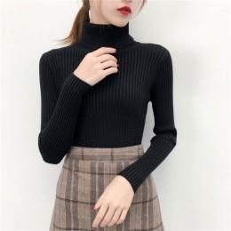 2019 mujeres suéter casual sólido cuello alto Mujer pulóver manga completa cálido suave primavera Otoño Invierno tejido de algod