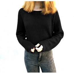 Otoño Invierno mujer suéteres y pulóveres estilo coreano de manga larga casual corto suéter Delgado sólido punto jerseys mujer