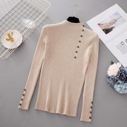 Nueva moda botón cuello alto suéter mujer primavera otoño sólido tejido pulóver mujeres Delgado suave Jersey suéter mujer tejido