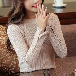 Moda 2019 nuevo suéter de mujer de primavera Otoño de punto de manga larga cuello redondo Sexy delgado de oficina de señora botó
