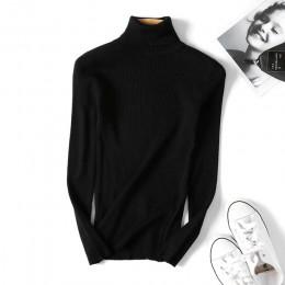 Suéter negro de cuello alto de Otoño de Invierno para mujer Jersey de punto suave elástico ajustado para mujer 2019 jersey de mo
