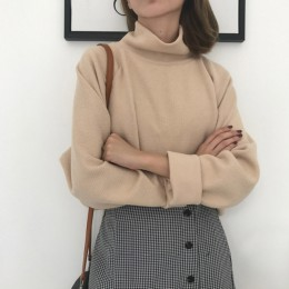 Ccibuy11 suéter de cuello alto Jersey de punto para mujer suéter Casual suelto manga larga de murciélago jerséis de ganchillo ro