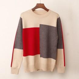 Nuevo suéter Multicolor de Otoño Invierno para mujer suéter de punto de cuello redondo suéter suelto Casual cálido para mujer