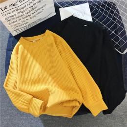 Suéter mujer 2019 otoño invierno nuevo Color sólido Base suéter manga larga cuello redondo moda suelta Harajuku suéter Delgado t