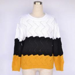 BEFORW 2019 mujeres de invierno de manga larga cuello redondo tejido Jersey Vintage empalme Casual otoño mujer suéteres Tops