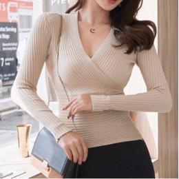 2019 nuevo suéter de cuello en V profundo Sexy para mujer Jersey Casual ajustado de fondo suéteres mujer elástico de algodón de