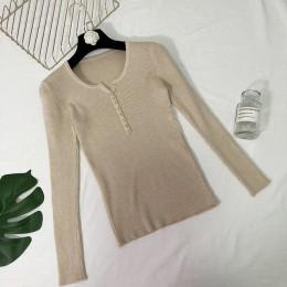 Nuevo 2019 primavera botón cuello en V suéter mujeres básico Delgado punto pulóver mujeres suéteres y pulóveres punto jersey señ