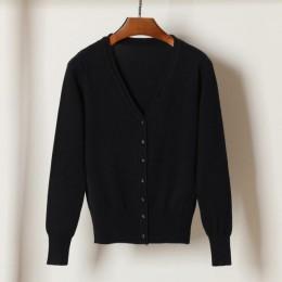 Queechalle 28 colores cárdigan de punto primavera otoño cárdigan mujer casual manga larga tapas cuello en V sólido mujer suéter