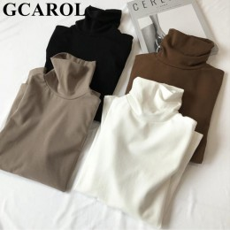 Nuevas camisetas básicas de cuello alto de Otoño Invierno para mujer, Camiseta ajustada de manga larga, ropa superior sin forro