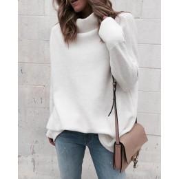 Jersey de punto blanco para mujer, suéter de manga larga de otoño e invierno, Jersey a la moda 2018, jersey de cuello alto para