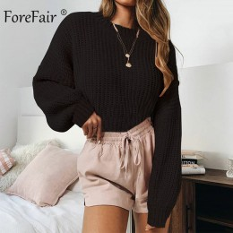 Jersey Casual de cuello alto de mujer de invierno de punto pulóveres de manga de linterna corto negro blanco de punto sólido par