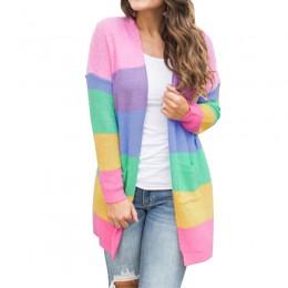 Suéter de Otoño de mujer de manga larga de retazos de punto abierto Arco Iris rayado Cardigan mujeres abrigo sueter mujer invier