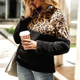 2019 suéter de lana de invierno de moda de leopardo de retazos mullido suéteres gruesos abrigados de la cremallera de las mujere