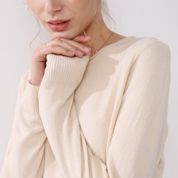 Suéter de punto de mujer de manga larga con cuello redondo femenino corto Casual sólido de moda fino pulóver señoras suéteres de