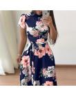 Vestido de verano de mujeres, 2019 Casual de manga corta Vestido largo estampado Floral de Boho Vestido Maxi de cuello alto vend
