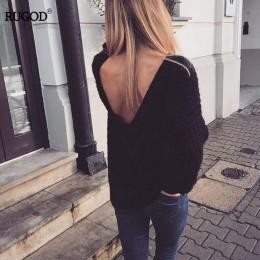 Rugod 2019 nuevo Sexy sin espalda cuello en V suéter mujeres Pullover Otoño Invierno Casual suéter de punto Femme tridot Pullove