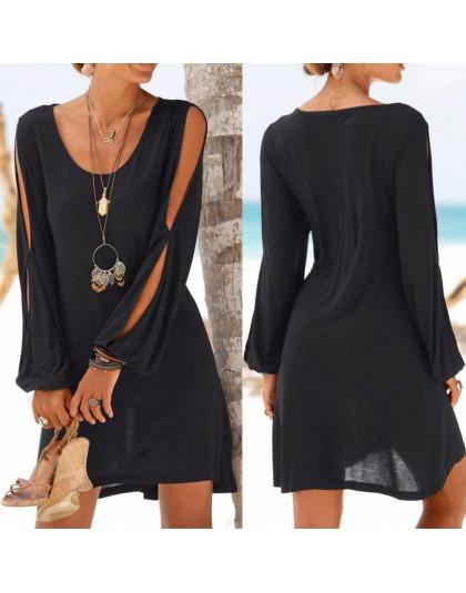 KANCOOLD vestido moda mujer Casual cuello redondo ahuecado hacia fuera manga recta vestido sólido playa estilo Mini vestido muje