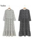Vadim mujer puntos estampado maxi vestido plisado tres cuartos manga femenina casual vestidos rectos chic tobillo largo vestidos